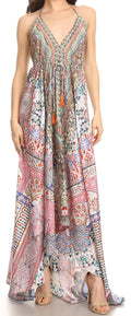 Sakkas Lizi Womens Maxi High-low Halter Handkerchief Long Dress Beach Party#color_TM262-Multi