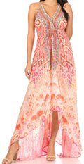 Sakkas Lizi Womens Maxi High-low Halter Handkerchief Long Dress Beach Party#color_TPI317-Pink