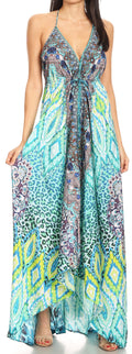 Sakkas Lizi Womens Maxi High-low Halter Handkerchief Long Dress Beach Party#color_TRG225-Green