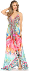 group-TRM231-Multi (Sakkas Marina Womens Maxi High-low Halter Handkerchief Long Dress Beach Party)