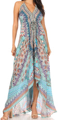 Sakkas Lizi Womens Maxi High-low Halter Handkerchief Long Dress Beach Party#color_TRM323-Multi