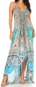 Sakkas Lizi Womens Maxi High-low Halter Handkerchief Long Dress Beach Party#color_TTU314-Turq