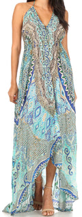 Sakkas Lizi Womens Maxi High-low Halter Handkerchief Long Dress Beach Party#color_TTU315-Turq
