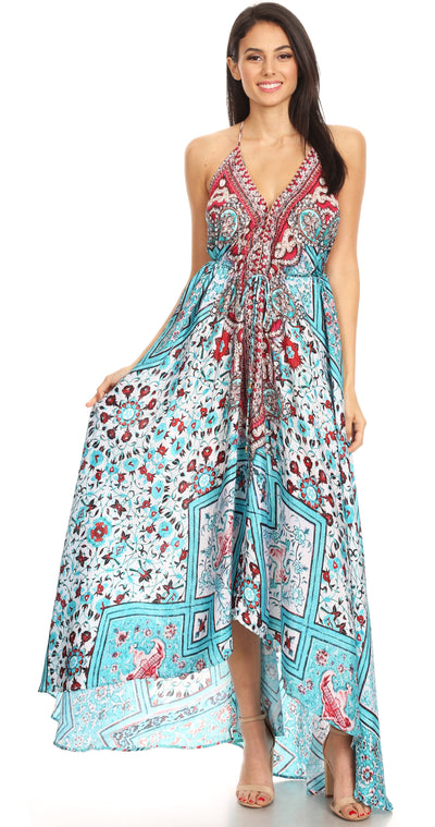group-TW222-White (Sakkas Marina Womens Maxi High-low Halter Handkerchief Long Dress Beach Party)