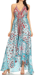 Sakkas Lizi Womens Maxi High-low Halter Handkerchief Long Dress Beach Party#color_TW222-White