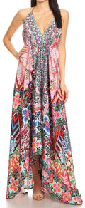 Sakkas Lizi Womens Maxi High-low Halter Handkerchief Long Dress Beach Party#color_UM209-Multi