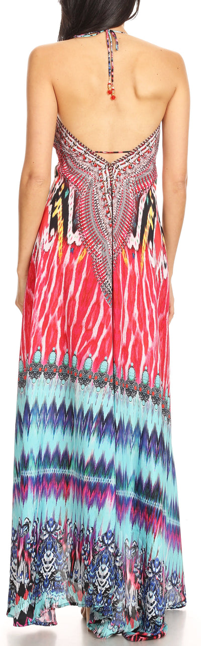 group-UM232-Multi (Sakkas Marina Womens Maxi High-low Halter Handkerchief Long Dress Beach Party)