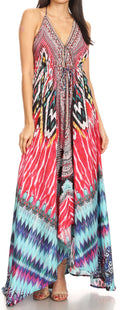 Sakkas Lizi Womens Maxi High-low Halter Handkerchief Long Dress Beach Party#color_UM232-Multi