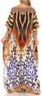 Sakkas Jabari Women's Maxi Short Sleeve Long Beach Kaftan Dress Boho Loose Gown
