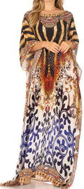 Sakkas Jabari Women's Maxi Short Sleeve Long Beach Kaftan Dress Boho Loose Gown#color_OW15-White
