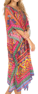 Sakkas Jenni Women's Mid Length Boho Caftan Kaftan Dress Cover up Flowy Rhinestone