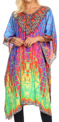 Sakkas Jenni Women's Mid Length Boho Caftan Kaftan Dress Cover up Flowy Rhinestone#color_JFM91-Multi