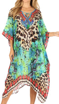 Sakkas Jenni Women's Mid Length Boho Caftan Kaftan Dress Cover up Flowy Rhinestone#color_ST49-Turq