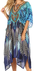 Sakkas Jenni Women's Mid Length Boho Caftan Kaftan Dress Cover up Flowy Rhinestone#color_ZB55-Blue
