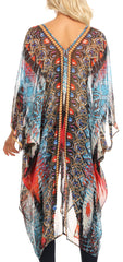 Sakkas Livi  Women's V Neck Beach Dress Cover up Caftan Top Loose with Rhinestone