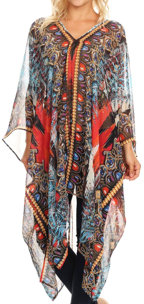 Sakkas Livi  Women's V Neck Beach Dress Cover up Caftan Top Loose with Rhinestone#color_AM107-Multi