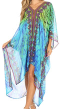 Sakkas Livi  Women's V Neck Beach Dress Cover up Caftan Top Loose with Rhinestone#color_WT53-Turq