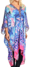 group-WT39-Turq (Sakkas Alvita Women's V Neck Beach Dress Top Caftan Cover up with Rhinestones)
