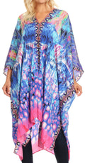 Sakkas Alvita Women's V Neck Beach Dress Top Caftan Cover up with Rhinestones#color_WT39-Turq