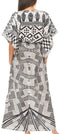 Sakkas Delma Women's Long Maxi Column V-neck Short Sleeve Slim Dress with Print#color_GW290-White