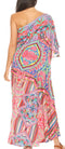 Sakkas Dora Women's One Shoulder Short Sleeve Casual Elegant Maxi Dress with Print#color_ORM286-Multi