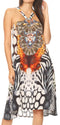 Sakkas Eva Women's Casual Summer Cocktail Boho Sleeveless Short Dress with Print#color_EW259-White