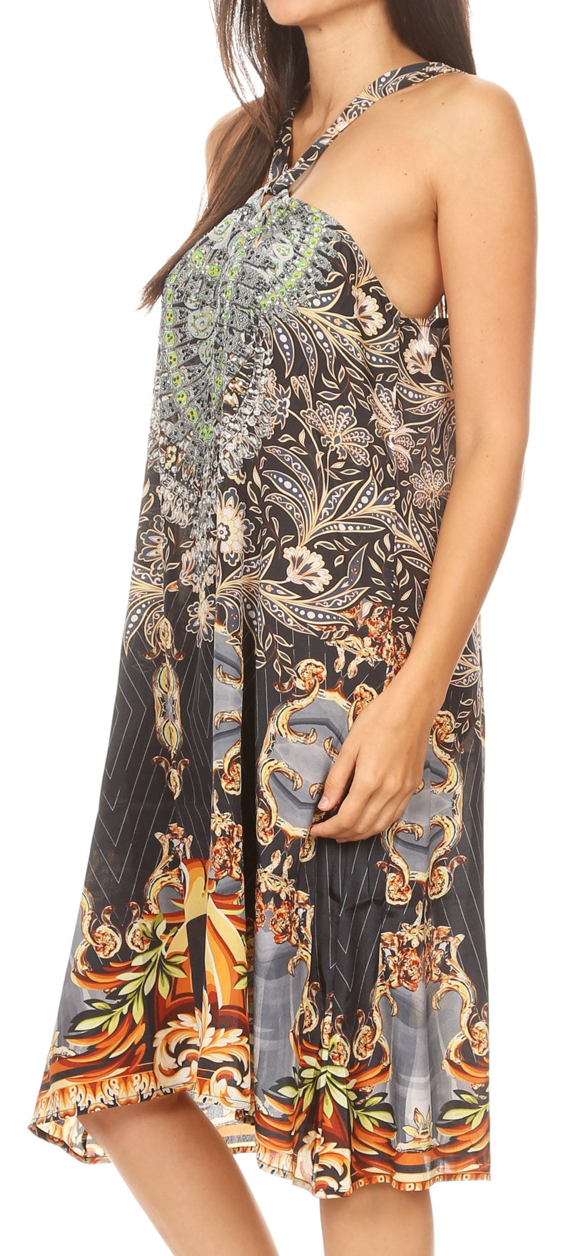 group-ORBK295-Black (Sakkas Eva Women's Casual Summer Cocktail Boho Sleeveless Short Dress with Print)