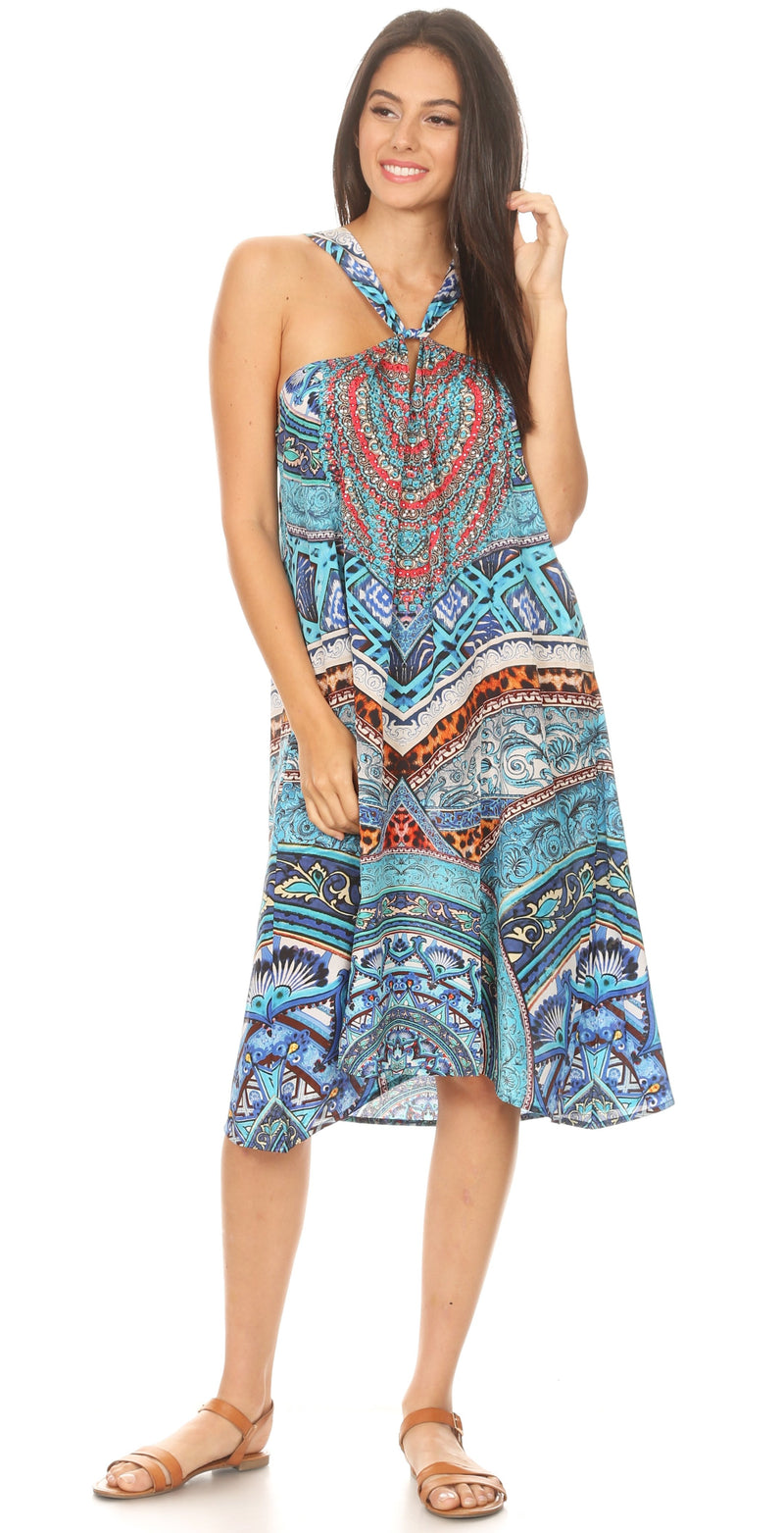 group-TTU296-Turq (Sakkas Eva Women's Casual Summer Cocktail Boho Sleeveless Short Dress with Print)