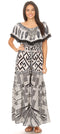group-GW257-White (Sakkas Tara Women's Long Maxi Boho Off Shoulder Summer Casual Dress Floral Print)