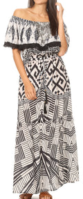 Sakkas Tara Women's Long Maxi Boho Off Shoulder Summer Casual Dress Floral Print#color_GW257-White