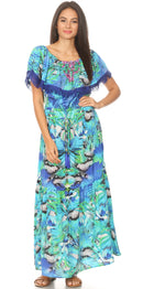 group-NB258-Blue (Sakkas Tara Women's Long Maxi Boho Off Shoulder Summer Casual Dress Floral Print)