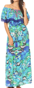 Sakkas Tara Women's Long Maxi Boho Off Shoulder Summer Casual Dress Floral Print#color_NB258-Blue