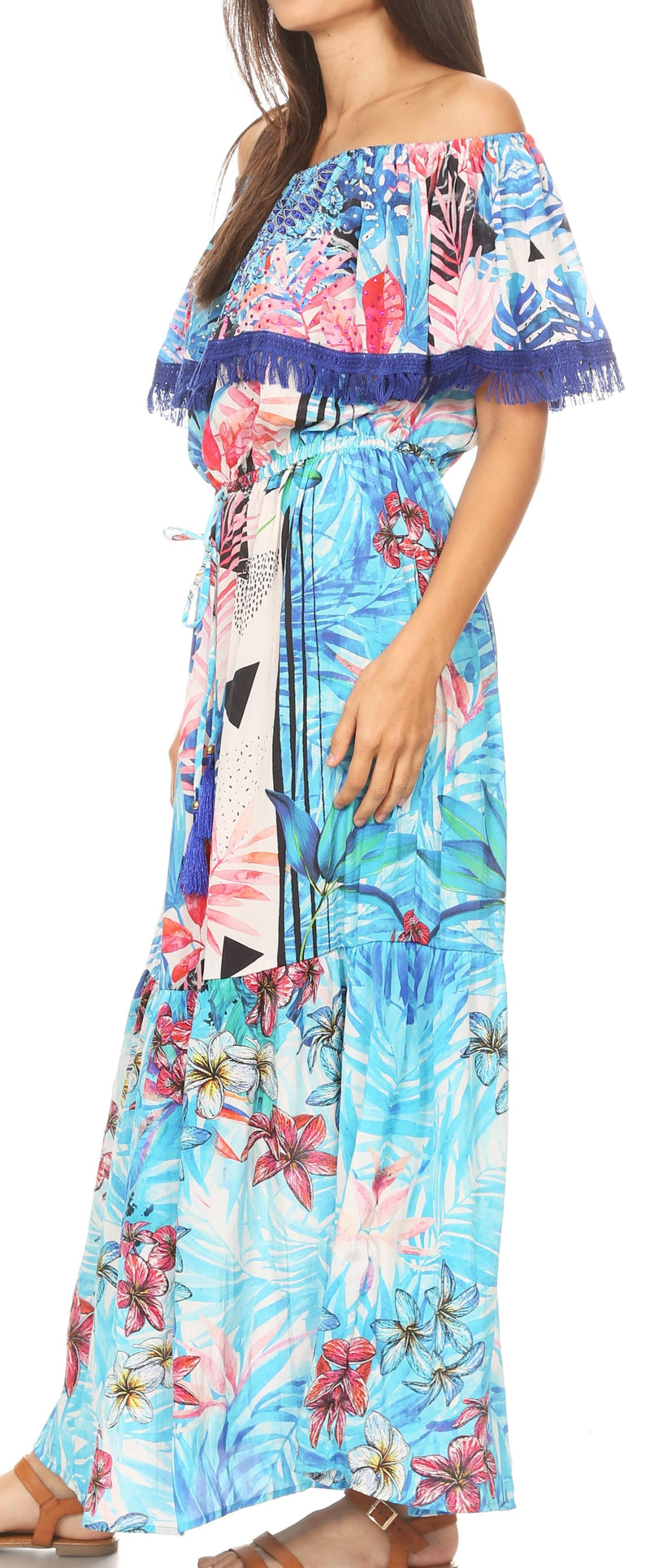 group-TLB256-Blue (Sakkas Tara Women's Long Maxi Boho Off Shoulder Summer Casual Dress Floral Print)