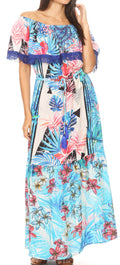 Sakkas Tara Women's Long Maxi Boho Off Shoulder Summer Casual Dress Floral Print#color_TLB256-Blue