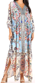 Sakkas Yeni Women's Short Sleeve V-neck Summer Floral Long Caftan Dress Cover-up#color_FLM391-Multi