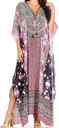 Sakkas Yeni Women's Short Sleeve V-neck Summer Floral Long Caftan Dress Cover-up#color_TM390-Multi