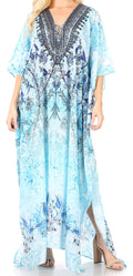 Sakkas Yeni Women's Short Sleeve V-neck Summer Floral Long Caftan Dress Cover-up#color_TTU389-Turq