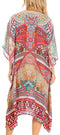 Sakkas Zeni Women's Short sleeve V-neck Summer Floral Print Caftan Dress Cover-up#color_AM392-Multi