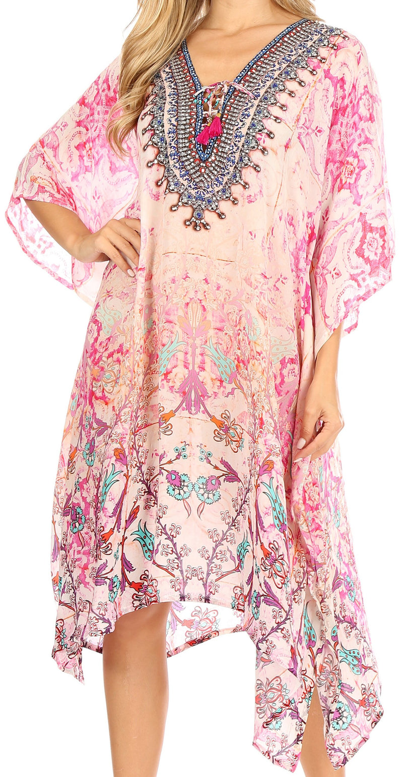 Sakkas Zeni Women's Short sleeve V-neck Summer Floral Print Caftan Dress Cover-up