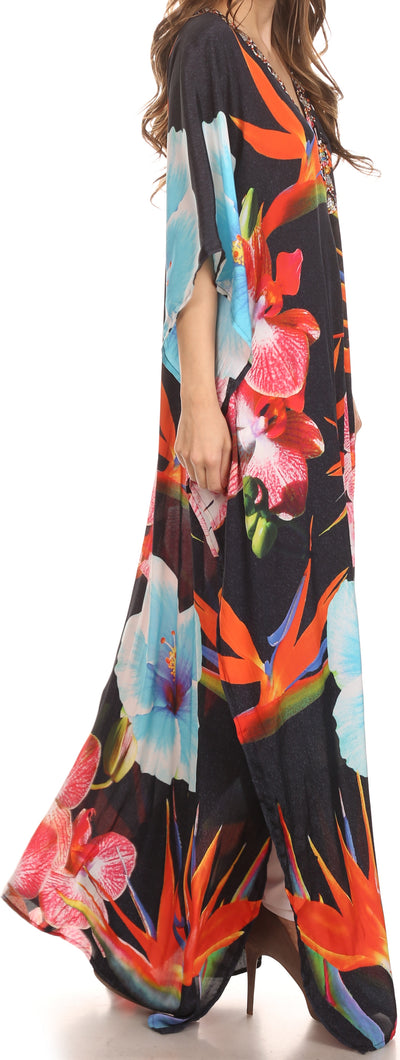 group-Black / Multi (Sakkas Georgettina Flowy Rhinestone V Neck Long Caftan Dress/Cover Up)
