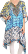 Sakkas Liv Ligthweight Summer Printed Short Caftan Dress / Cover Up