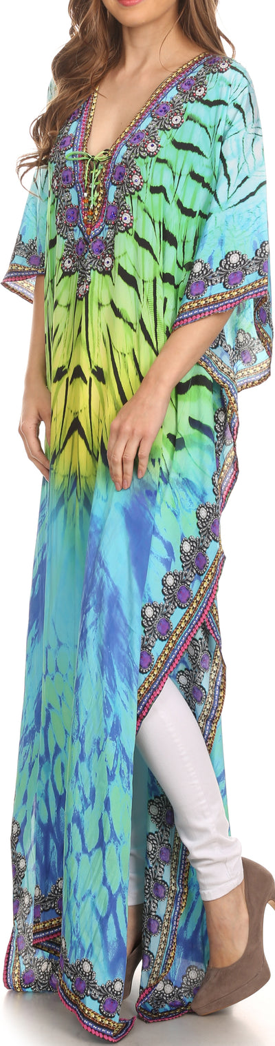 group-Green Yellow / Multi (Sakkas Georgettina Flowy Rhinestone V Neck Long Caftan Dress/Cover Up)