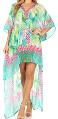 Sakkas Laisson Flowy Hi Low Caftan Rhinestone Boxy V Neck Dress Top Cover / Up#color_Turq Pink / Multi