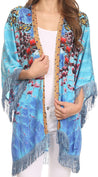 Sakkas Holiday Tribal Sheer Kimono Top Cardigan With Fringe And Open Front