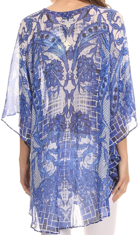 Sakkas Balloon Top Sloane Circle Poncho Top Blouse With Beaded Tassle Adjustable Neck Closure