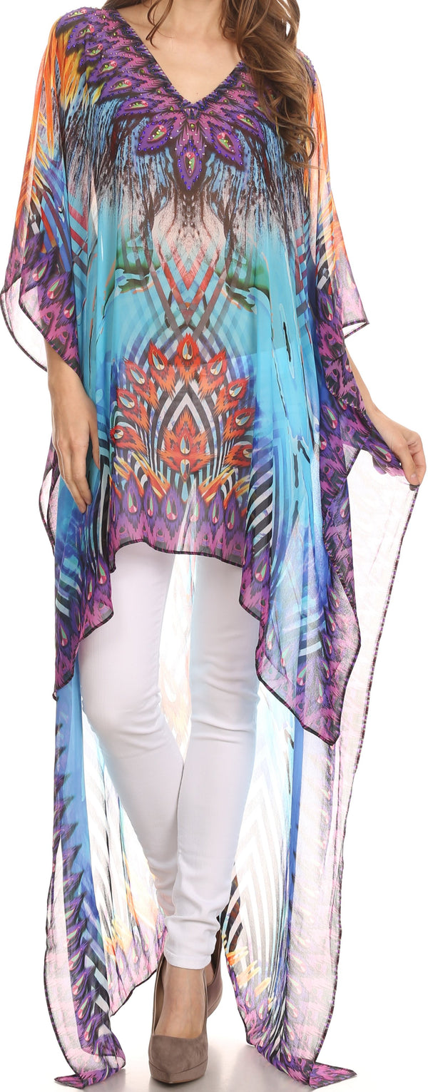 Sakkas Zeke Hi Low V-Neck Caftan Dress Printed Top Cover / Up #color_Turq Purple / Multi