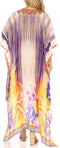 Sakkas Laisson Flowy Hi Low Caftan Rhinestone Boxy V Neck Dress Top Cover / Up#color_Orange Purple / Multi
