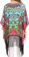 Sakkas Short Poncho Tatum Poncho Top Shirt Blouse With Knotted Fringe Tassles#color_Red / Bright Green