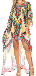 Sakkas Laisson Flowy Hi Low Caftan Rhinestone Boxy V Neck Dress Top Cover / Up#color_Brown Turq / Multi