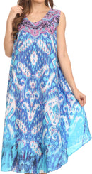 Sakkas Enzo  Lightweight Caftan Dress With Printed Pattern